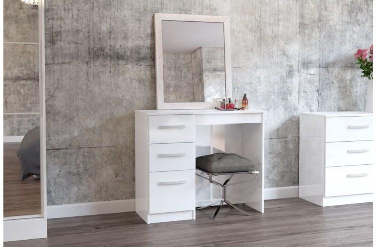 White Gloss 3 Drawer Single Pedestal
