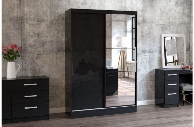 Birlea Lynx Black With Black Gloss Sliding Door Wardrobe