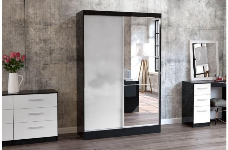 birlea lynx black with white gloss sliding door wardrobe with mirror