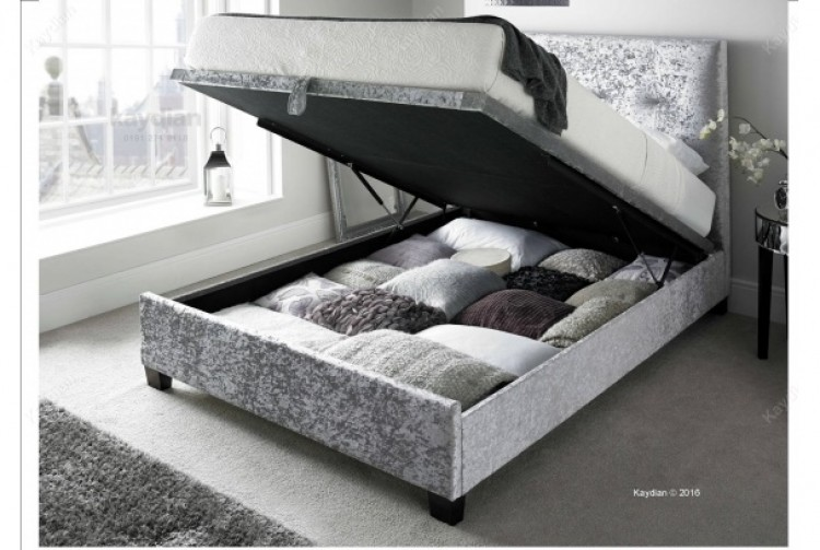 Kaydian Walkworth 6ft Super Kingsize Silver Velvet Fabric Ottoman Storage Bed By