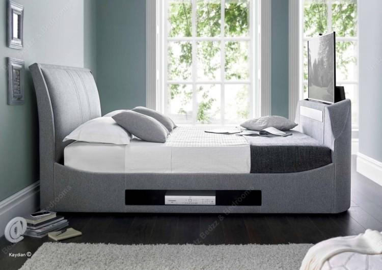 Kaydian Maximus 6ft Super Kingsize Smoke Fabric TV Bed by Kaydian