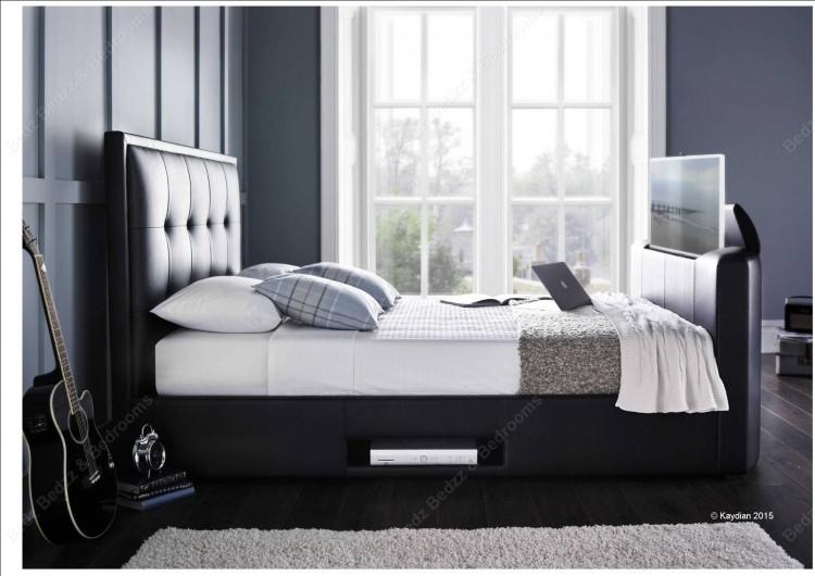 Kaydian Cartmel 6ft Super Kingsize Black Leather TV Bed by Kaydian