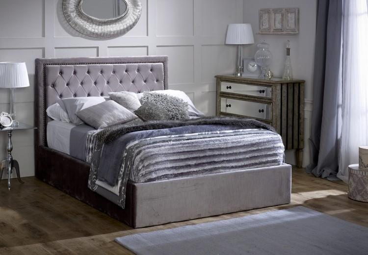 Limelight Rhea 5ft Kingsize Plush Silver Velvet Fabric