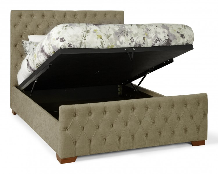 serene lillian 4ft6 double fudge fabric ottoman bed frame. Black Bedroom Furniture Sets. Home Design Ideas