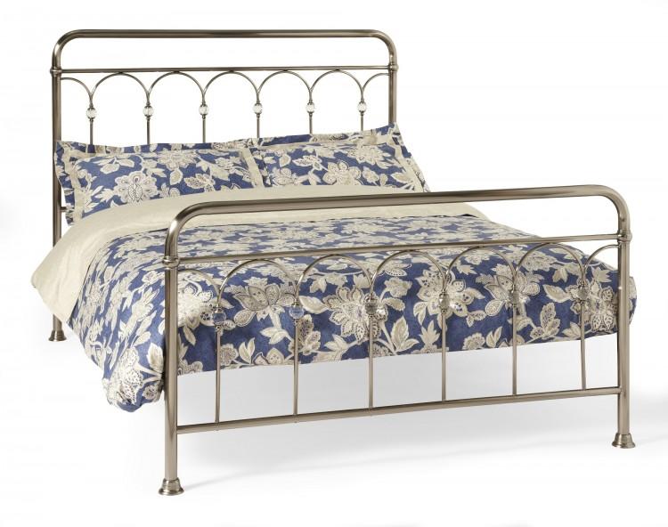 serene shilton 6ft super king size antique nickel metal bed frame with crystals by serene. Black Bedroom Furniture Sets. Home Design Ideas