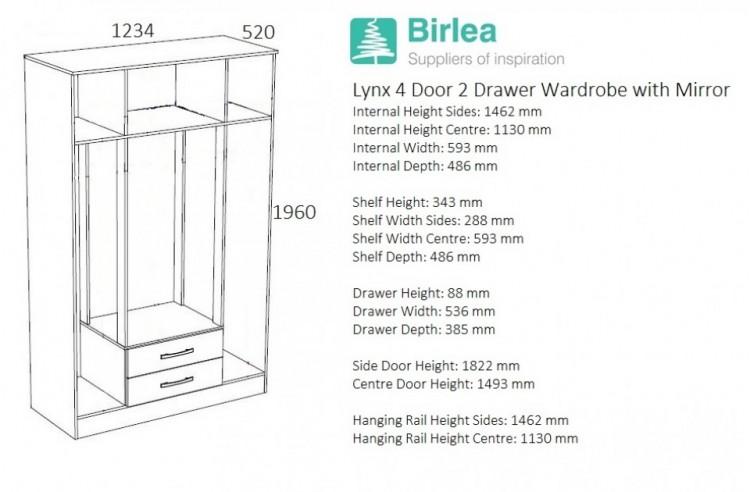 Birlea Lynx Black With White Gloss 4 Door 2 Drawer Wardrobe Center Mirrors