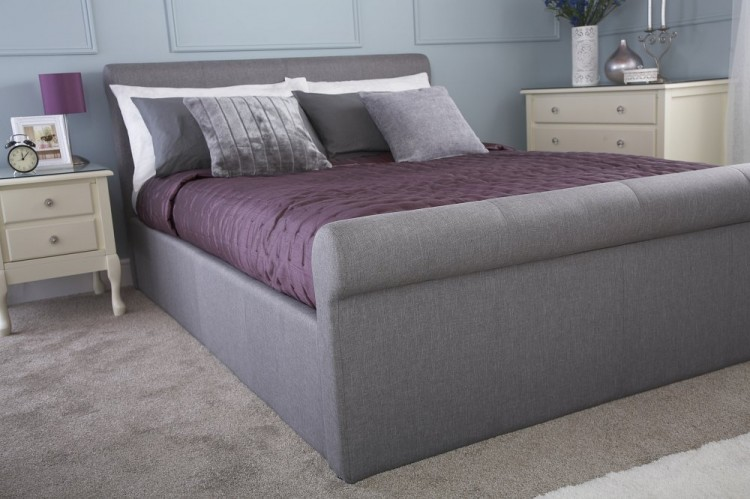 Gfw Carolina 4ft6 Double Silver Fabric Ottoman Bed Frame