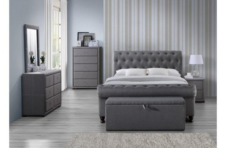 Birlea Sorrento 6 Drawer Dresser In Grey Fabric By Birlea