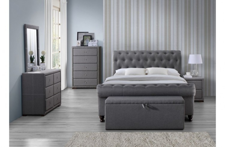 Birlea Castello 5ft Kingsize Grey Fabric Bed Frame by Birlea