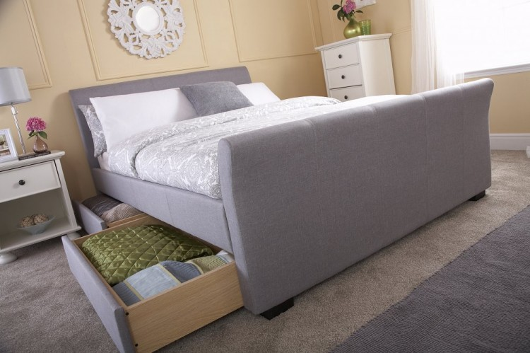 Gfw Hannover 5ft Kingsize Grey Fabric Storage Bed By Gfw