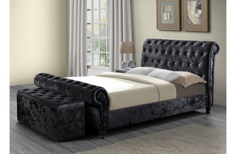 Birlea Bordeaux 6ft Super Kingsize Black Fabric Bed Frame By Birlea