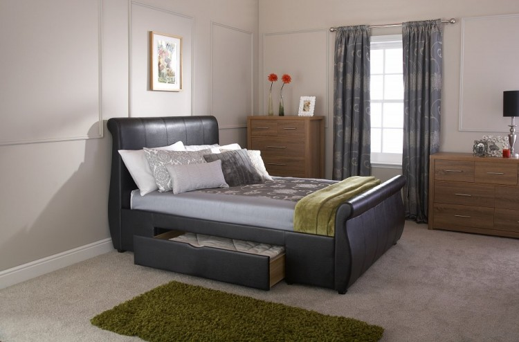 Gfw Alabama 4ft6 Double Black Faux Leather Storage Bed Frame By Gfw