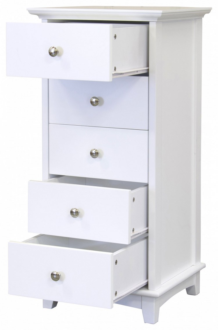 Gfw Toulouse White 5 Drawer Narrow Chest By Gfw