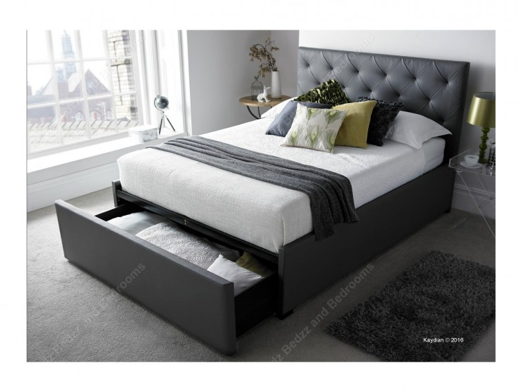 Kaydian Corbridge 5ft Kingsize Grey Leather Bed By Kaydian