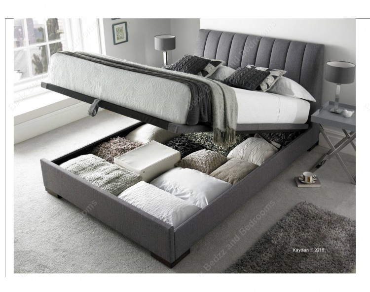 Kaydian lanchester 4ft6 double grey fabric ottoman storage for Fabric bed frame with storage