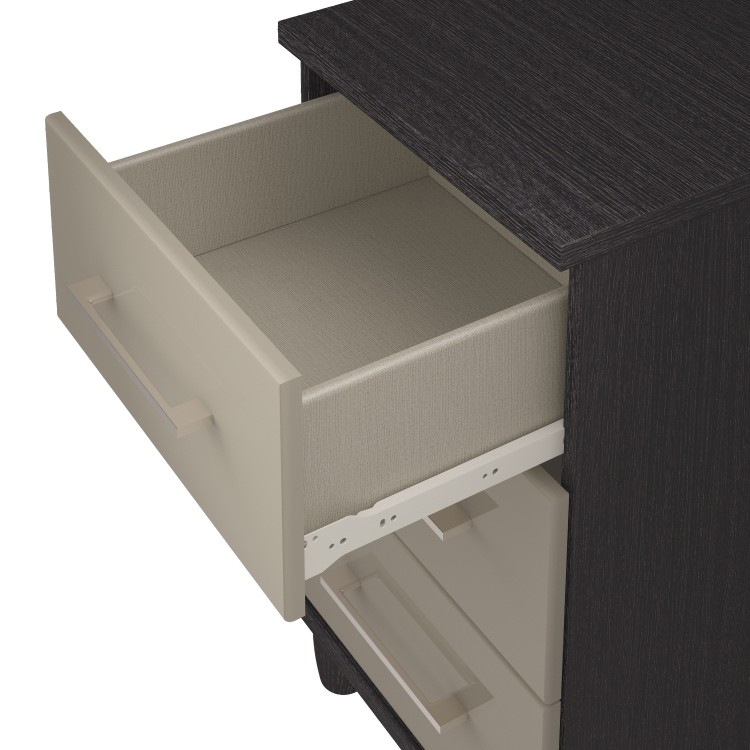Kt Halo Gloss Pale Grey 3 Drawer Large Chest By Uk Bed Store