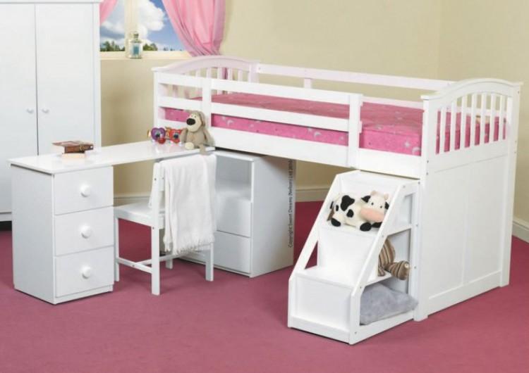 db7f3ca95f24 Sweet Dreams Kipling Ruby Pink 3ft 90cm single wooden Mid Sleeper