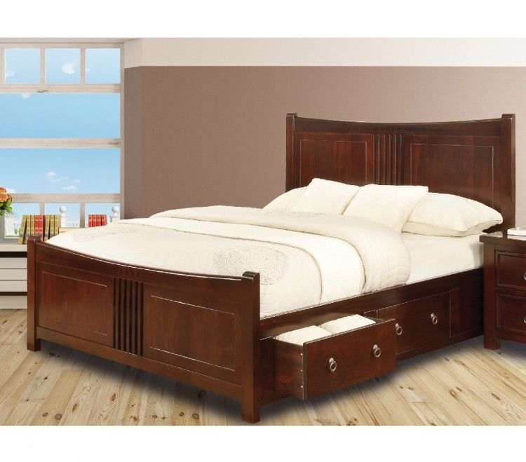 Sweet dreams curlew wild cherry 4ft 6 double wooden bed for Double bed with drawers and mattress