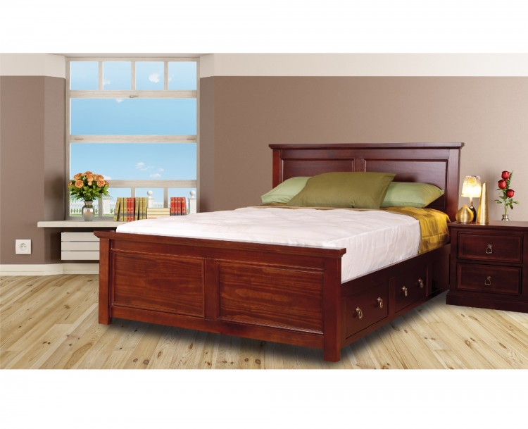 sweet dreams wagner 4ft6 double bed frame with under bed drawers in mahogany by sweet dreams