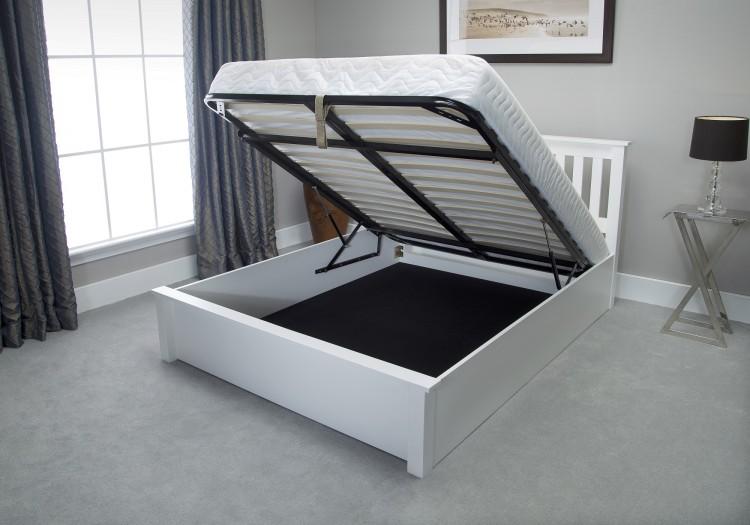 Emporia Freya 6ft Super Kingsize White Wooden Ottoman Bed