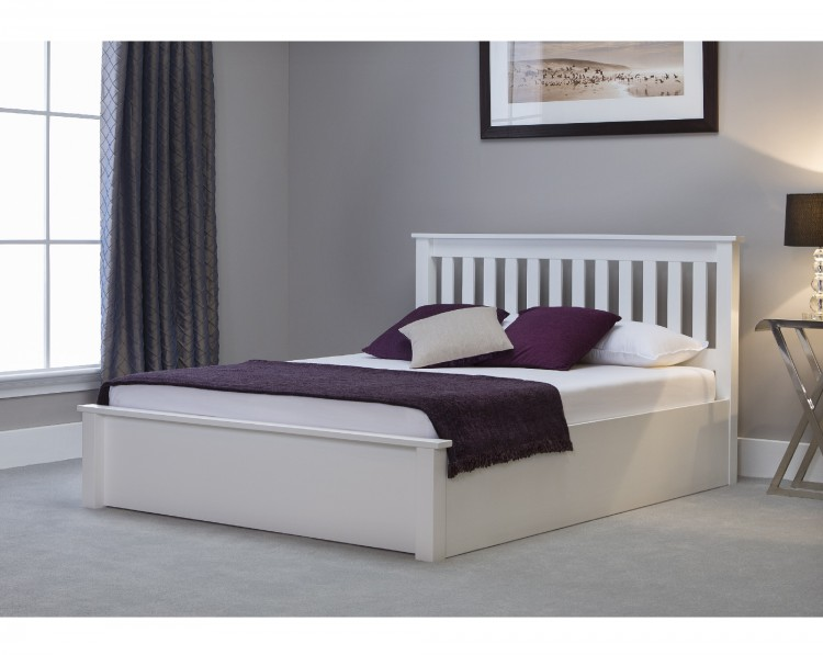 Emporia Freya 4ft6 Double White Wooden Ottoman Bed By