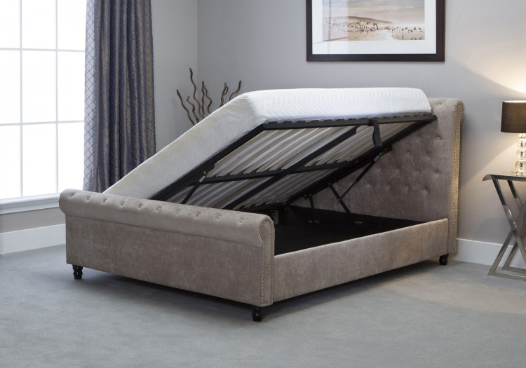 Emporia Oxford 6ft Super Kingsize Stone Fabric Ottoman Bed By
