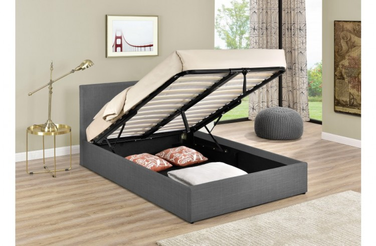 ad4bba380817 Birlea Berlin 4ft Small Double Grey Check Fabric Ottoman Bed by Birlea