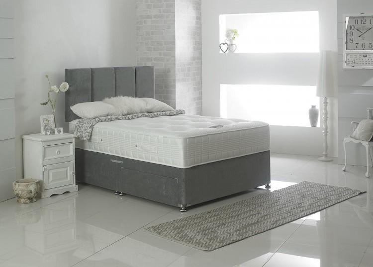 Dura bed tencel pocket 1000 4ft small double pocket sprung for Double divan bed with pocket sprung mattress