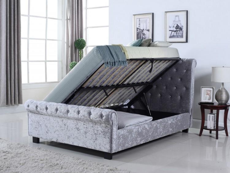 Flintshire Whitford 5ft Kingsize Silver Fabric Side Lift