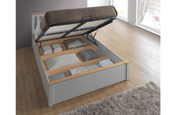 Birlea Phoenix 4ft6 Double Pearl Grey Ottoman Lift Wooden Bed Frame By Birlea