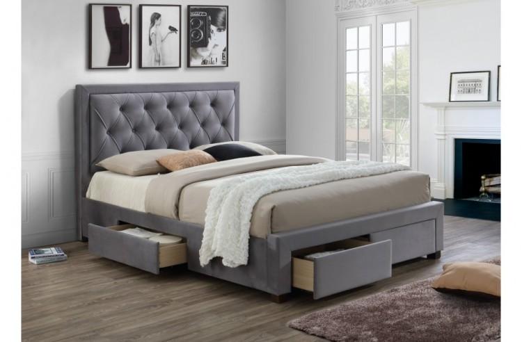 Birlea Woodbury 5ft Kingsize Grey Fabric Bed Frame With 4
