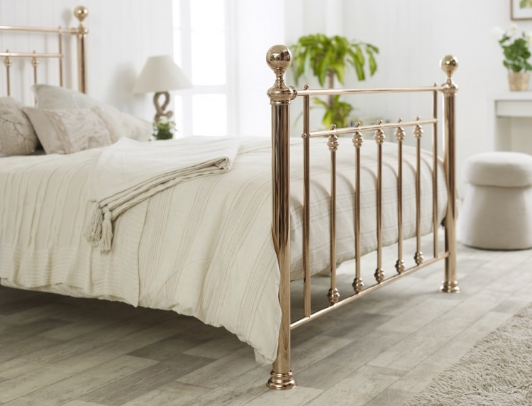 limelight libra 4ft6 double rose gold metal bed frame by