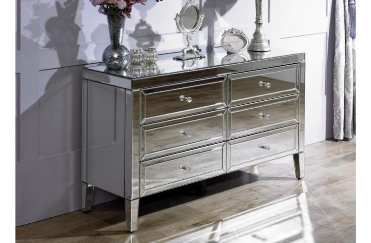 birlea valencia 6 drawer mirrored chest by birlea. Black Bedroom Furniture Sets. Home Design Ideas