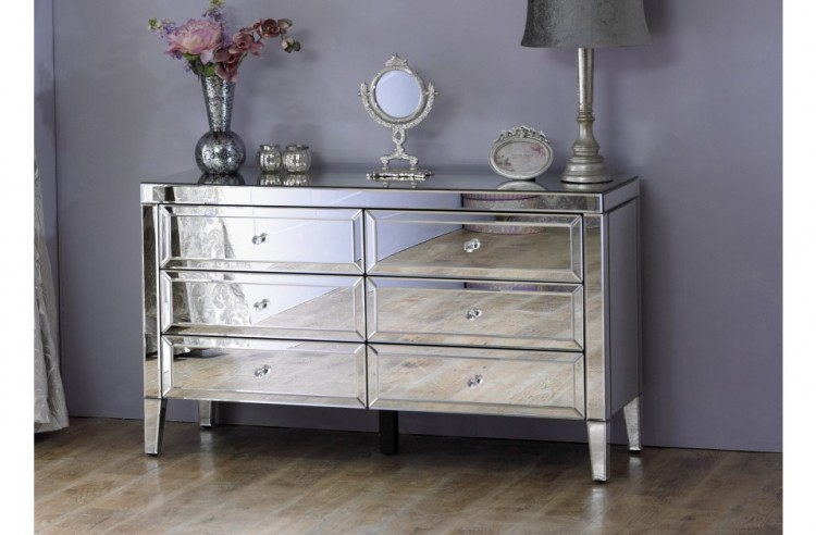 Birlea Valencia 6 Drawer Mirrored Chest By Birlea