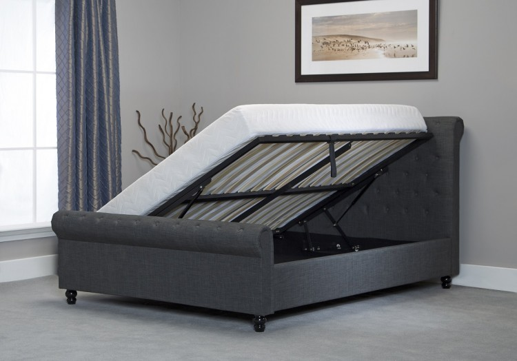 Emporia Oxford 5ft Kingsize Grey Fabric Ottoman Bed By Emporia Beds