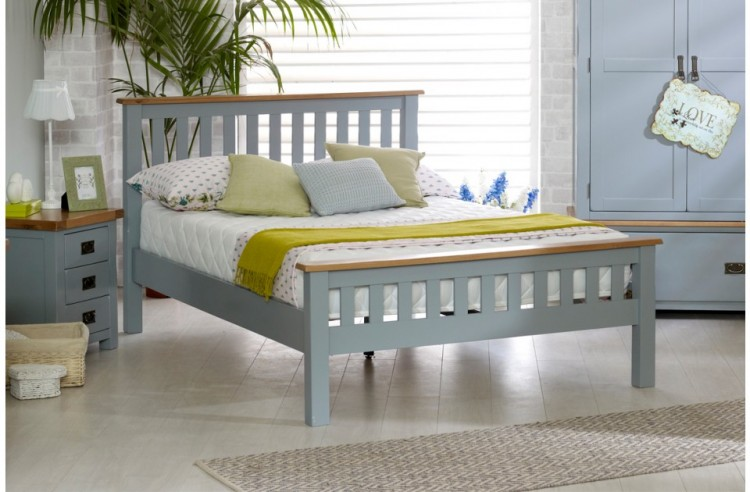 Birlea New Hampshire 5ft Kingsize Grey Wooden Bed Frame With High