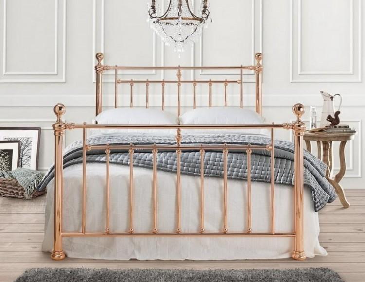 time living alexander 5ft kingsize rose gold metal bed