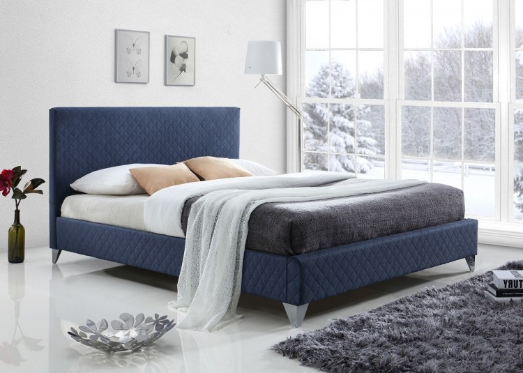 Time Living Brooklyn 5ft Kingsize Blue Fabric Bed Frame By Time Living