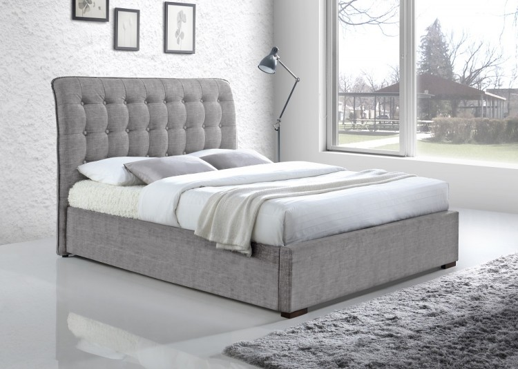Time Living Hamilton 5ft Kingsize Light Grey Fabric Bed Frame by ...