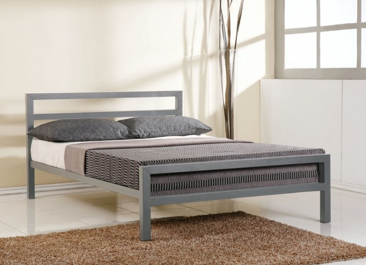 Time Living City Block 3ft Single Grey Metal Bed Frame By