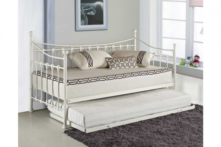 Sleep Design Versailles 3ft Single White Metal Day Bed And Trundle By