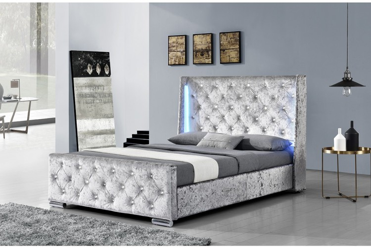 Sleep Design Dorchester 5ft Kingsize Crushed Silver Velvet LED Bed ...