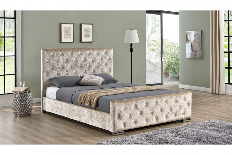 7d6227ed490 Sleep Design Beaumont 4ft6 Double Crushed Gold Velvet Bed Frame by Sleep  Design