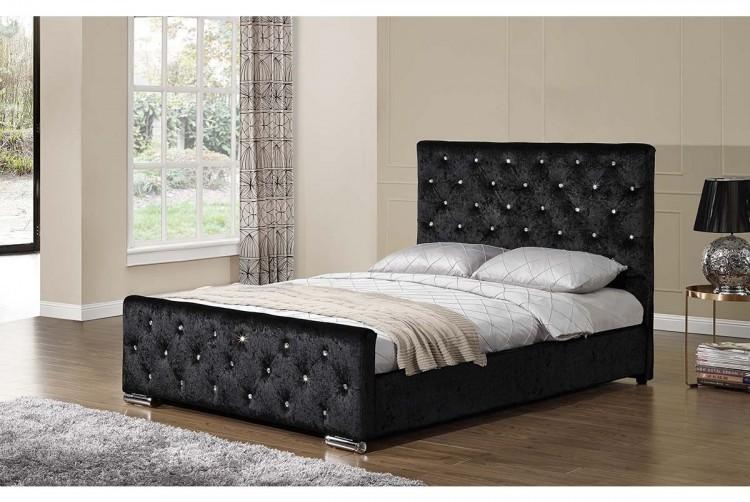 Sleep Design Beaumont 4ft6 Double Crushed Black Velvet Bed Frame By