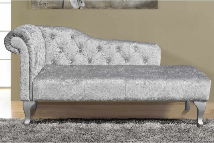 Sleep Design Beaumont Crushed Silver Velvet Chaise Lounge By Sleep