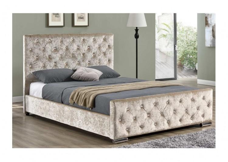 Sleep Design Buckingham 5ft Kingsize Crushed Gold Velvet