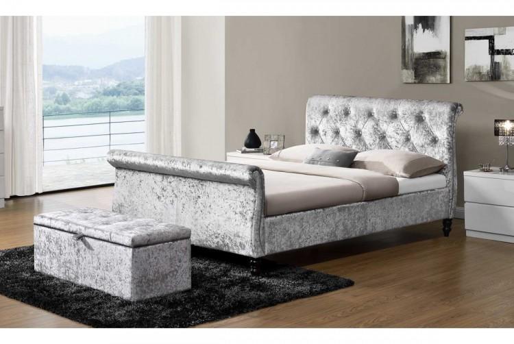 Sleep Design Westminster 4ft6 Double Crushed Silver Velvet Bed Frame ...