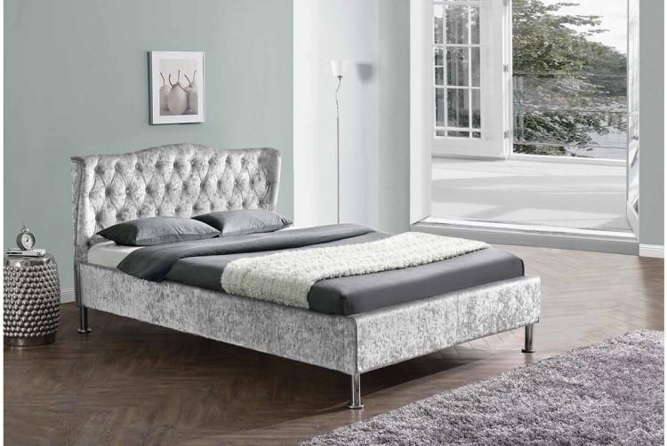Sleep Design Sandringham 5ft Kingsize Crushed Silver Velvet Bed ...