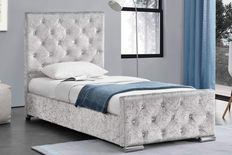 Sleep design beaumont 3ft single crushed silver velvet for Fabric bed frame with storage