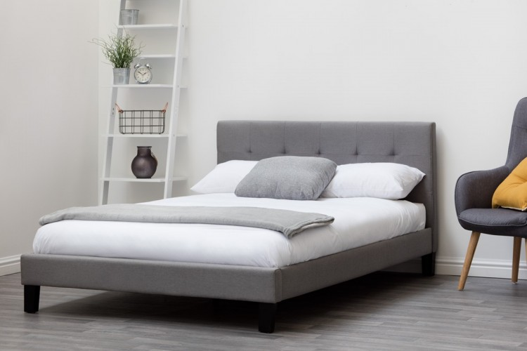 Sleep Design Blenheim 5ft Kingsize Grey Fabric Bed Frame by Sleep Design